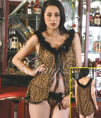 Sexy Cheetah Print Babydoll with Marabau
