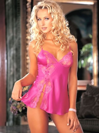 Charmeuse and Dyed-To-Match Lace Babydoll