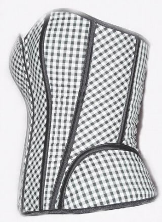 Checked Designs Reversible Long Line Boning Corset