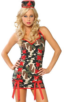 Criss Cross Front Army Mini Dress