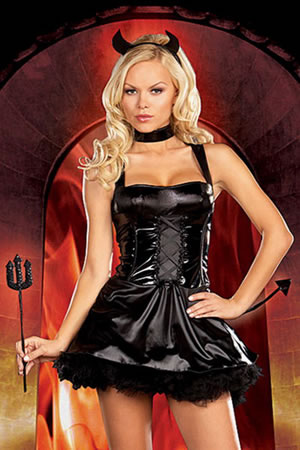 Black Vinyl Devil Costume - 10% off