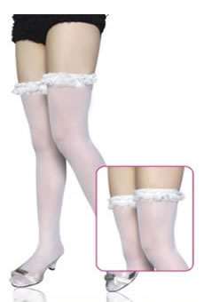 Sheer Stockings with Garter Top with ribbon