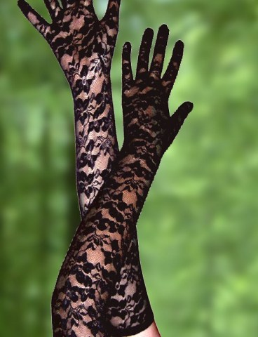 Floral Full Lace Elbow Length Gloves