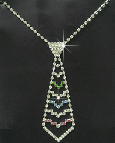 Colorful Rhinestone Tie Design Necklace