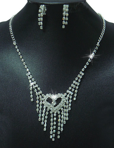 Sweety Rhinestone Heartshape Stripy Design Valentine Jewelry Set